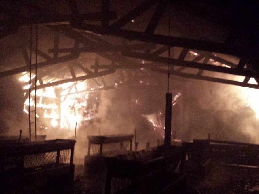 The burning old stable